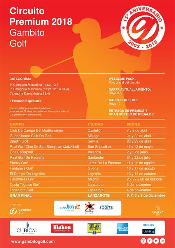 Circuito Los Arcos Calendario 2018 : Gambito golf calendario del circuito premium con